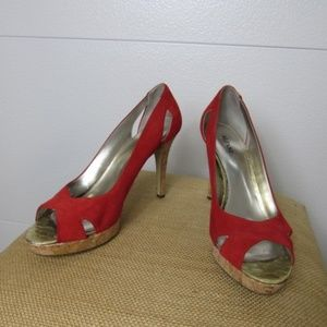 Alfani Red Leather Open Toe High Heel Shoes